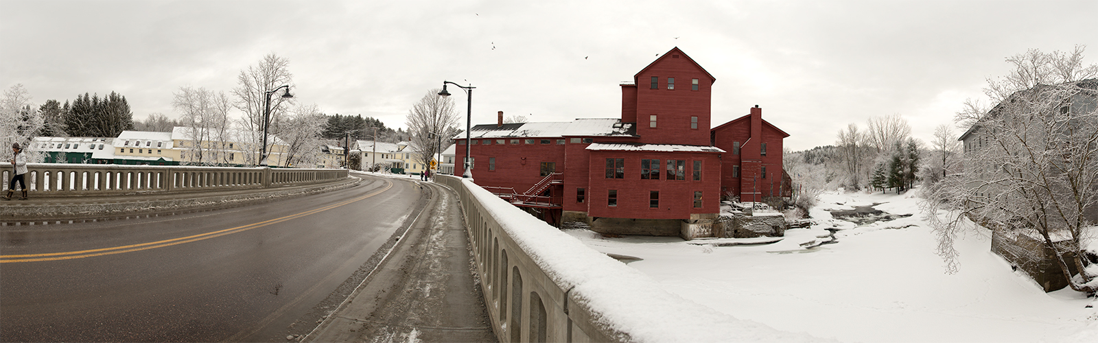 Red Mill and Gihon Bridge in February 28th Snow